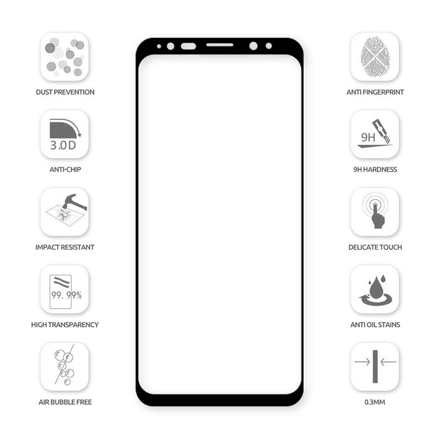 3D Tempered Glass Screen Protector - Samsung Galaxy S9+ (Black)